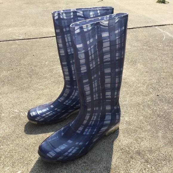 COACH Plaid Rubber Wellies Boot  11